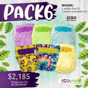 Paquete 6 pañales Ecopipo G3  y G4