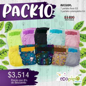 Paquete 10 pañales Ecopipo G3  y G4