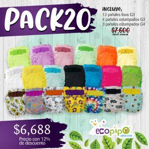 Paquete 20 pañales Ecopipo G3  y G4